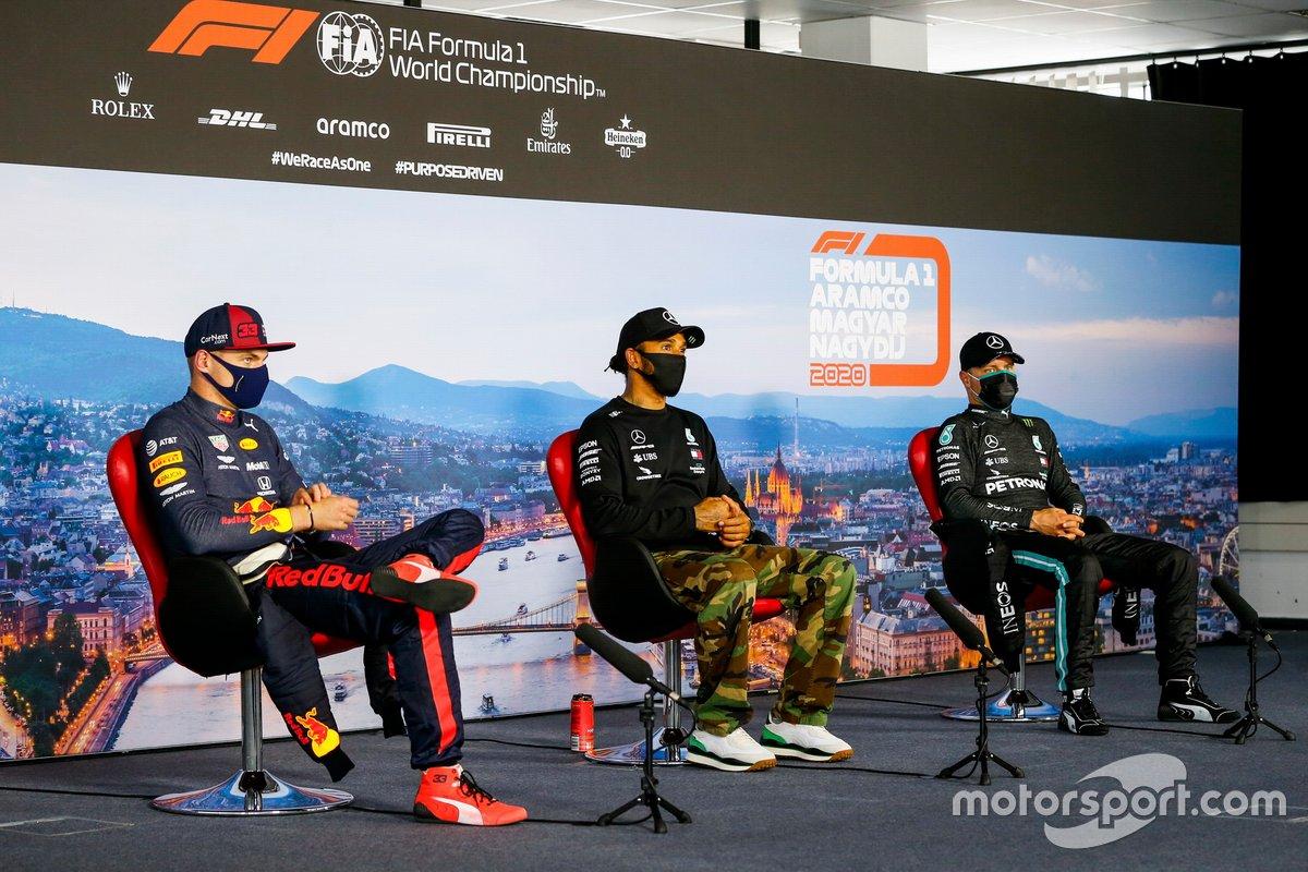 Max Verstappen, Red Bull Racing, Lewis Hamilton, Mercedes-AMG Petronas F1 y Valtteri Bottas, Mercedes-AMG Petronas F1 en la conferencia de prensa