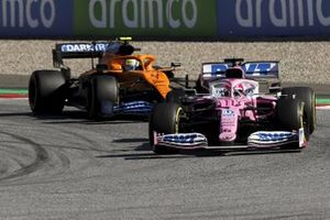 Sergio Perez, Racing Point RP20, leads Lando Norris, McLaren MCL35