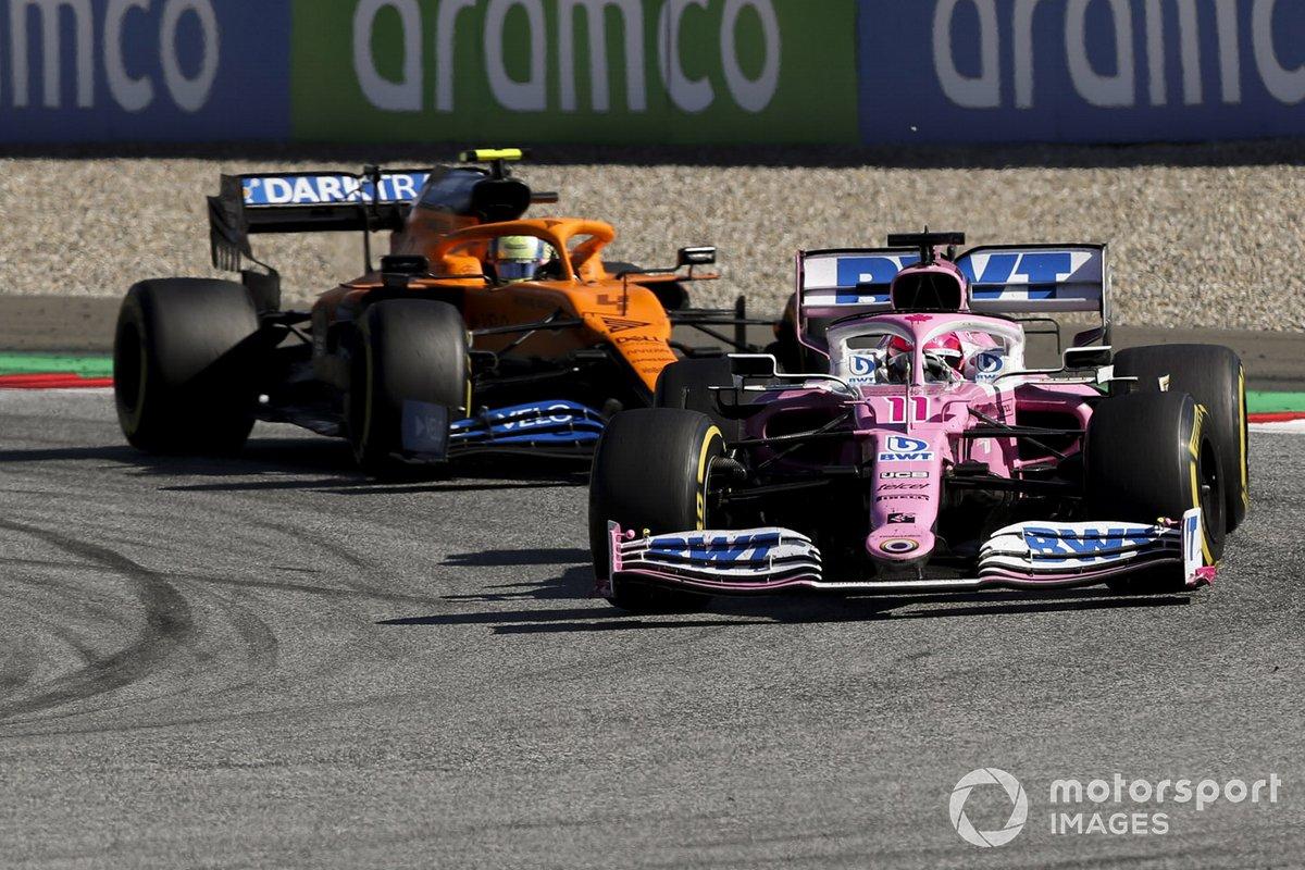 Sergio Pérez, Racing Point RP20, leads Lando Norris, McLaren MCL35