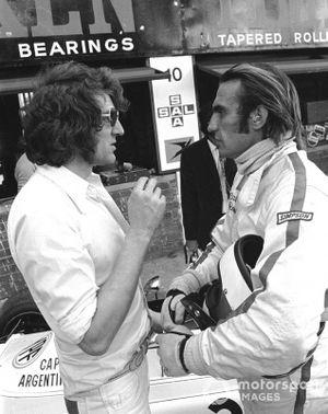 Brabham Team manager Keith Greene and Carlos Reutemann