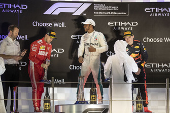 Sebastian Vettel, Ferrari, Lewis Hamilton, Mercedes AMG F1 and Max Verstappen, Red Bull Racing celebrate on the podium