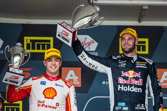 Podium: race winner Shane van Gisbergen, Triple Eight Race Engineering, second place Scott McLaughlin, DJR Team Penske