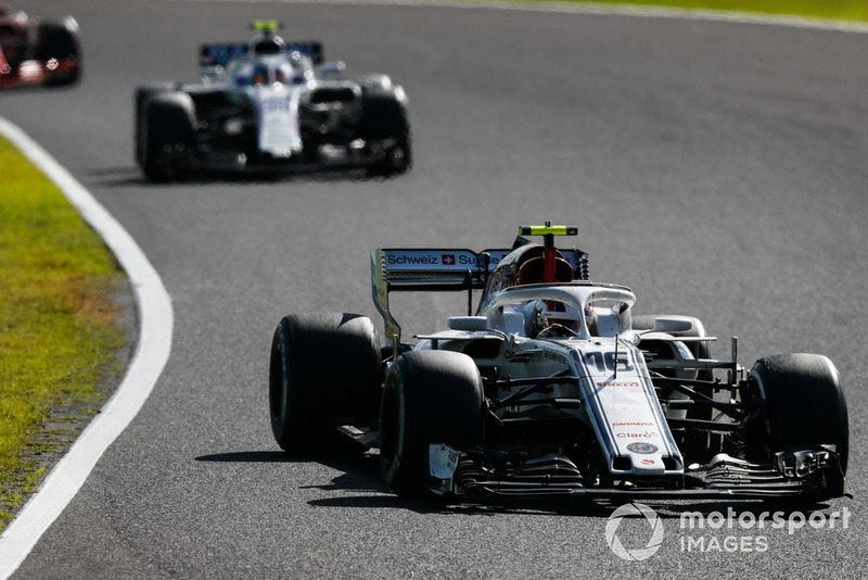 Charles Leclerc, Sauber C37, leads Sergey Sirotkin, Williams FW41