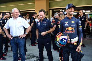 Dr Helmut Marko, Red Bull Motorsport Consultant, Christian Horner, Red Bull Racing Team Principal and Daniel Ricciardo, Red Bull Racing