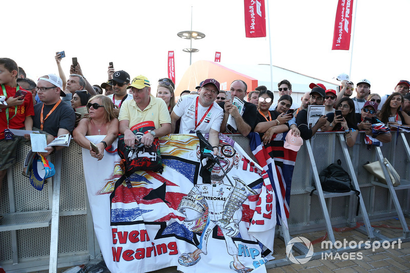 Lewis Hamilton, Mercedes AMG F1 fans and banner