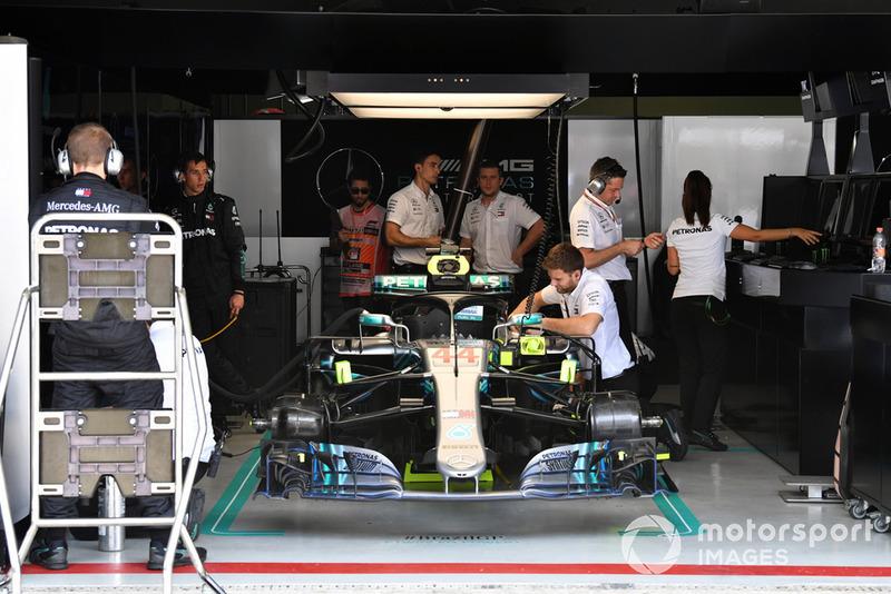 The car lf Lewis Hamilton, Mercedes-AMG F1 W09 in the garage