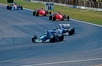 Michael Schumacher, Benetton B194 Ford, Damon Hill, Williams FW16 Renault