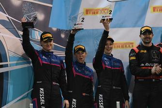 Podium PA: second place #83 Kessel Racing Ferrari 488 GT3: Manuela Gostner, Rahel Frey, Michelle Gatting