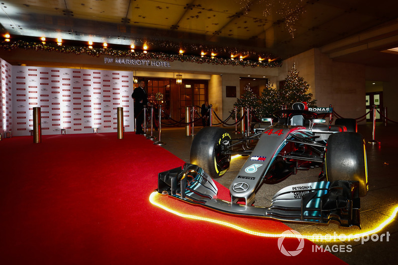 A Mercedes F1 car on the red carpet