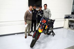 Daniel Ricciardo, Red Bull Racing, Red Bull Racing Team Principal Christian Horner, Max Verstappen, Red Bull Racing and Dougie Lampkin pose for a photo with a KTM bike