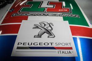 Dettaglio della livrea speciale della Peugeot 208 T16 R5 di Paolo Andreucci e Anna Andreussi, Peugeot Sport Italia