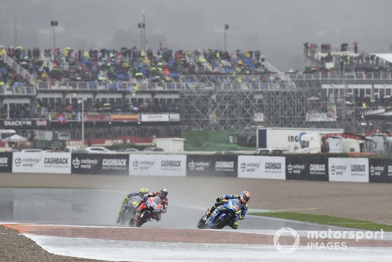 Alex Rins, Team Suzuki MotoGP, sotto la pioggia