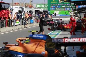 Charles Leclerc, Ferrari SF21, leaves the garage