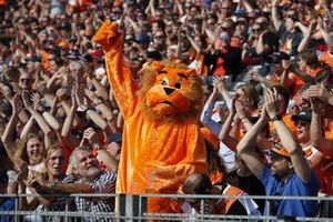 A lion mascot the fan cheers for Max Verstappen, Red Bull Racing