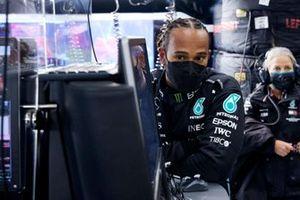 Lewis Hamilton, Mercedes, in the garage