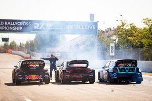 Kevin Hansen, Hansen World RX Team Peugeot 208, Tamás Kárai, Kárai Motorsport Sportegyesület Audi S1, Dan Öberg, Hedströms Motorsport Volkswagen Polo
