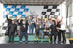#14: Vasser Sullivan Lexus RC F GT3, GTD: Jack Hawksworth , Aaron Telitz team and guests celebrate on the podium