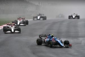 Esteban Ocon, Alpine A521, Antonio Giovinazzi, Alfa Romeo Racing C41, and Kimi Raikkonen, Alfa Romeo Racing C41