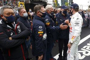 Christian Horner, Team Principal, Red Bull Racing, and Helmut Marko, Consultant, Red Bull Racing, with Max Verstappen, Red Bull Racing, 2nd position, after the race