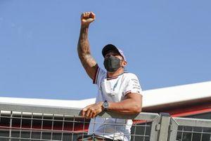 Lewis Hamilton, Mercedes, 1st position, celebrates after the race