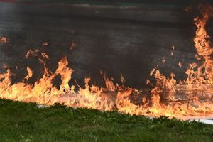 Fire after a crash at turn 2