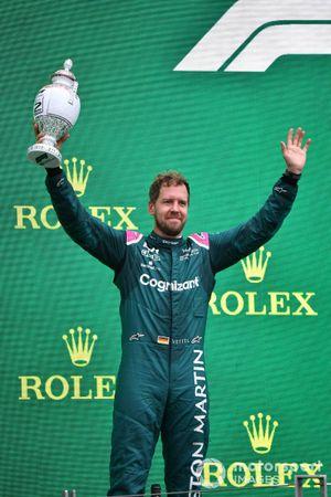 Sebastian Vettel, Aston Martin, 2nd position, with his trophy