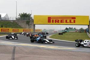 Nicholas Latifi, Williams FW43B, Lando Norris, McLaren MCL35M, George Russell, Williams FW43B, and Fernando Alonso, Alpine A521