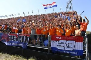 Fans fill the grandstands with orange in support of Max Verstappen, Red Bull Racing