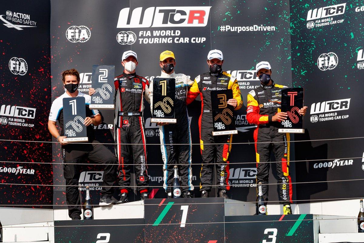 Podio: Ganador de la carrera Santiago Urrutia, Cyan Performance Lynk & Co Lynk & Co 03 TCR, segundo lugar Néstor Girolami, ALL-INKL.COM Münnich Motorsport Honda Civic Type R TCR, tercer lugar Frédéric Vervisch, Comtoyou Team Audi Sport Audi RS 3 LMS, Gilles Magnus, Comtoyou Team Audi Sport Audi RS 3 LMS