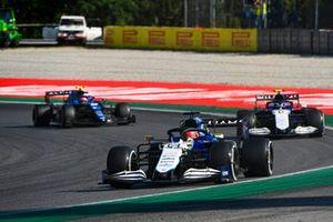 George Russell, Williams FW43B, Nicholas Latifi, Williams FW43B, and Esteban Ocon, Alpine A521