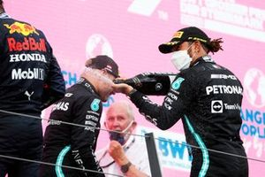 Max Verstappen, Red Bull Racing, Lewis Hamilton, Mercedes, and Valtteri Bottas, Mercedes