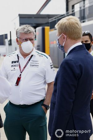 Otmar Szafnauer, Team Principal and CEO, Aston Martin F1, talks with Oliver Dowden CBE, Secretary of State for Digital, Culture, Media and Sport