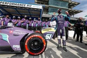 Pole award winner Romain Grosjean, Dale Coyne Racing with RWR Honda