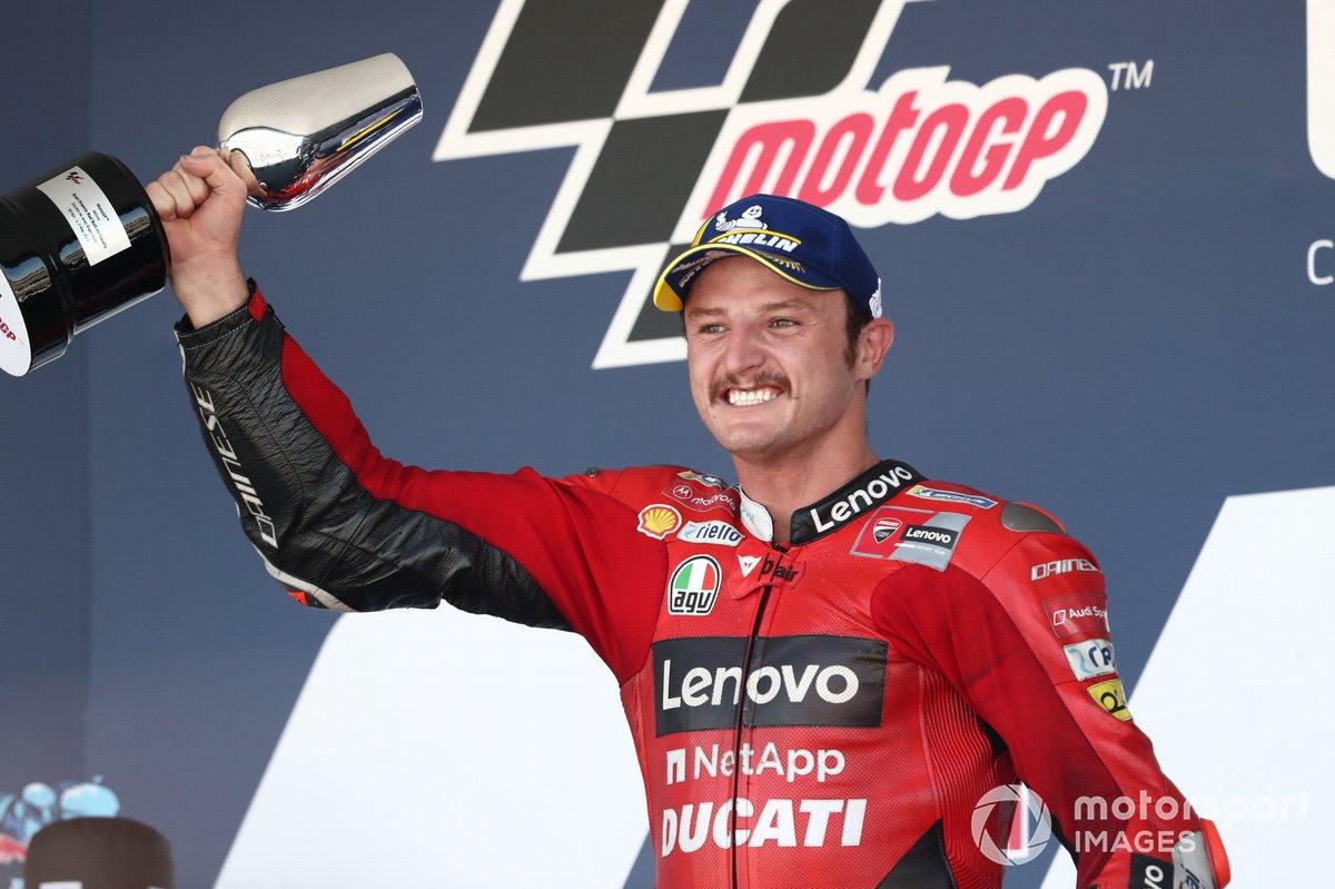 Il podio: Jack Miller, Ducati Team vince il GP di Spagna