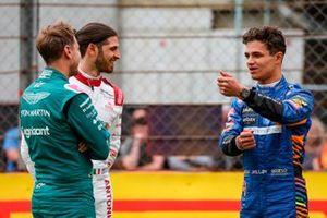 Sebastian Vettel, Aston Martin, Antonio Giovinazzi, Alfa Romeo Racing and Lando Norris, McLaren