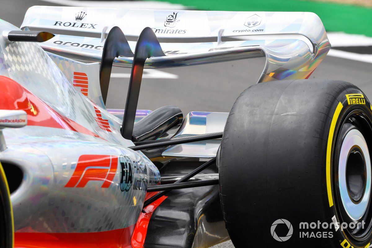 The 2022 Formula 1 car launch event on the Silverstone grid. Rear wing detail