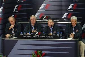 Graham Stoker, FIA Deputy President for Sport; Nick Craw, FIA Senate President; Jean Todt, FIA President; Brian Gibbons, FIA Deputy President for Mobility in a FIA Press Conference