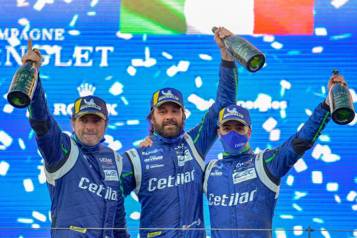 Podio: #47 Cetilar Racing, Ferrari 488 GTE Evo: Giorgio Sernagiotto, Roberto Lacorte, Antonio Fuoco