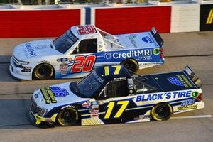 #17: David Gilliland, Team DGR, Ford F-150 Black's Tire, #20: Spencer Boyd, Young's Motorsports, Chevrolet Silverado Credit MRI