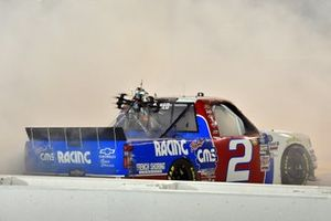 #2: Sheldon Creed, GMS Racing, Chevrolet Silverado GMS Racing celebrates his win with a burnout