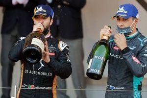 Antonio Felix Da Costa, DS Techeetah, Mitch Evans, Jaguar Racing, celebrates on the podium