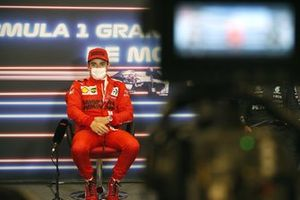 Pole starter Charles Leclerc, Ferrari, in the post Qualifying Press Conference