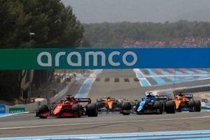 Charles Leclerc, Ferrari SF21, Fernando Alonso, Alpine A521, and Daniel Ricciardo, McLaren MCL35M