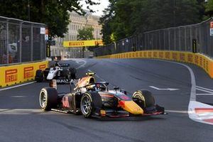 Juri Vips, Hitech Grand Prix, leads Christian Lundgaard, ART Grand Prix