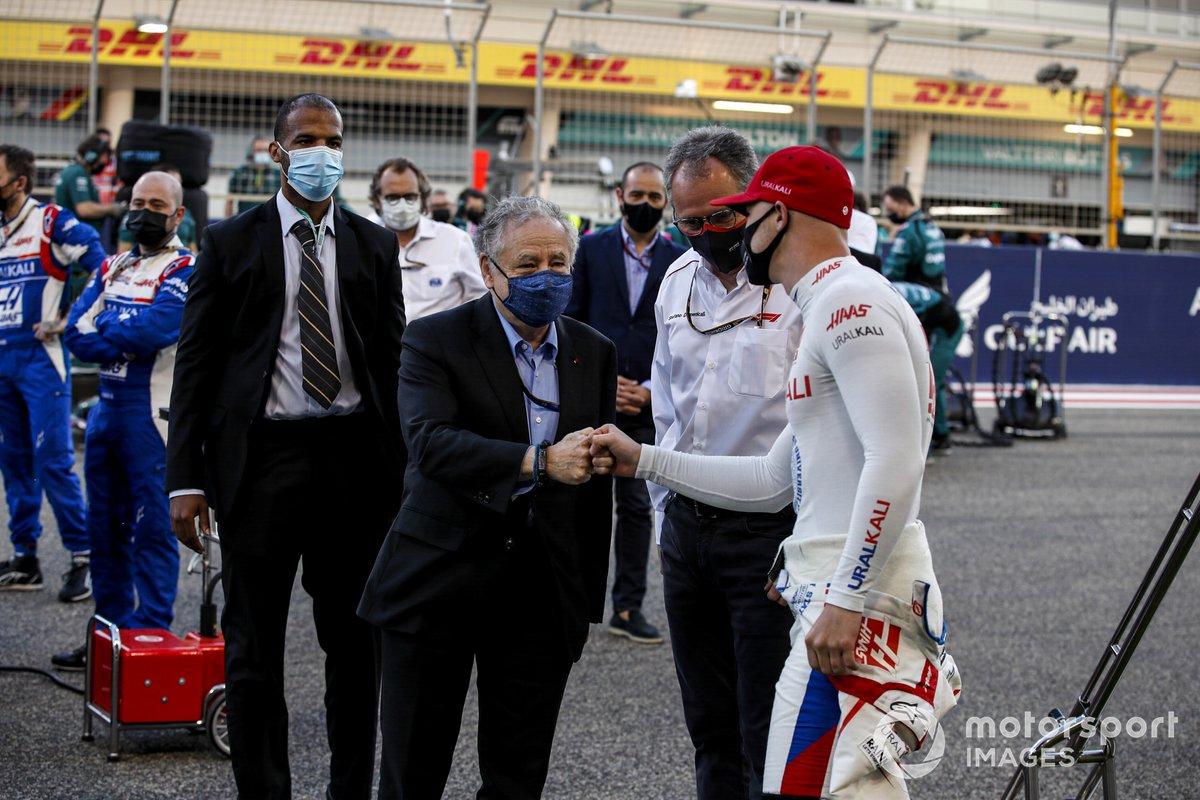 Jean Todt, Presidente de la FIA y Nikita Mazepin, Haas F1