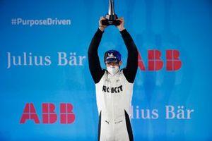 Edoardo Mortara, Venturi Racing, celebrates second position on the podium