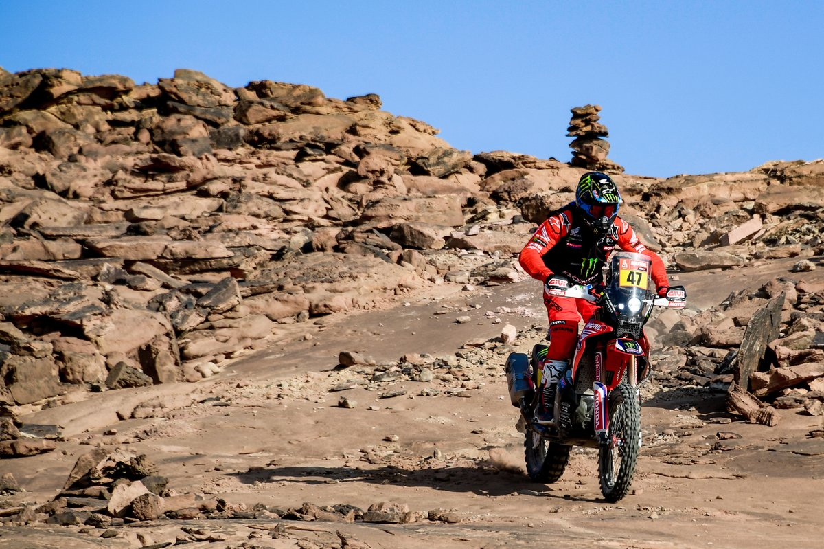 #50 Hero Motorsports Team Rally: C. S. Santosh, #54 Team Baines Rally KTM: Camille Chapeliere