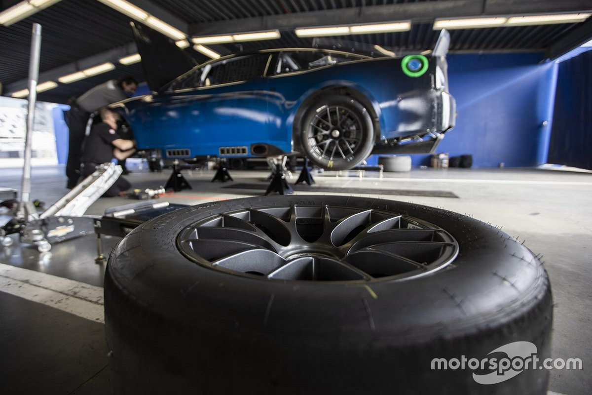 The NASCAR Next gen car sits in the garage