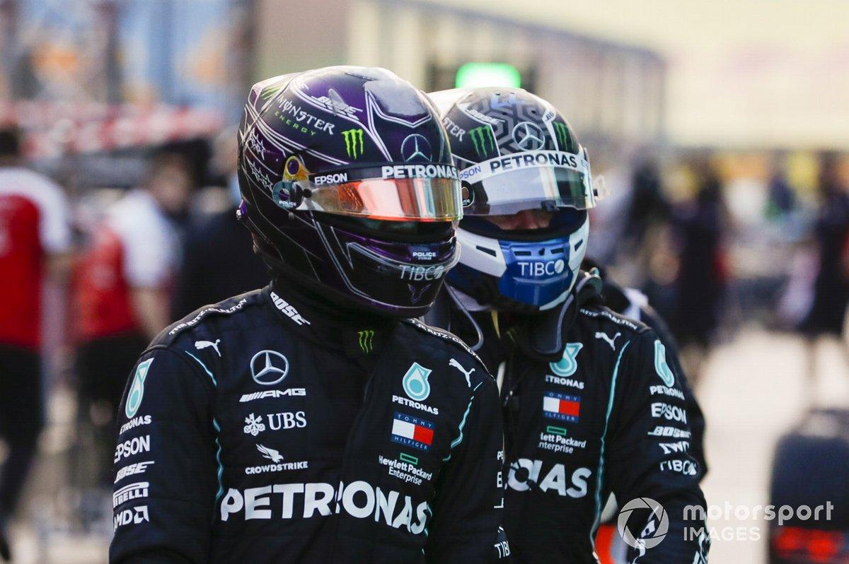 Lewis Hamilton, Mercedes-AMG F1, Valtteri Bottas, Mercedes-AMG F1, en Parc Ferme