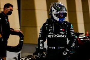 Pole man Valtteri Bottas, Mercedes-AMG F1, arrives in Parc Ferme